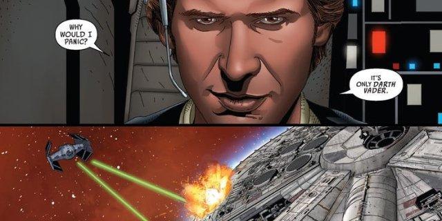 Han Solo dodges Darth Vader | Marvel Comics